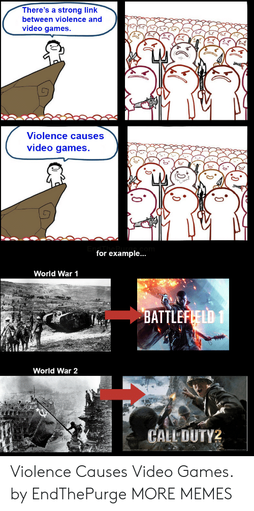for example: There's a strong link  between violence and  video games.  Violence causes  video games.  for example...  World War 1  BATTLEFLELD 1  World War 2  CALL DUTY2 Violence Causes Video Games. by EndThePurge MORE MEMES