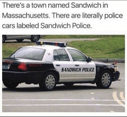 Massachusetts: There's a town named Sandwich in  Massachusetts. There are literally police  cars labeled Sandwich Police.  3  SANDWICH POLICE
