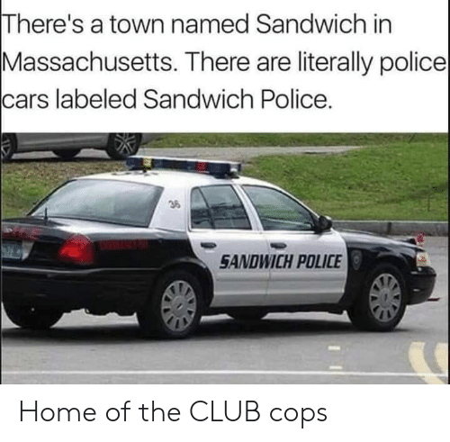 sandwich: There's a town named Sandwich in  Massachusetts. There are literally police  cars labeled Sandwich Police.  36  SANDWICH POLICE Home of the CLUB cops