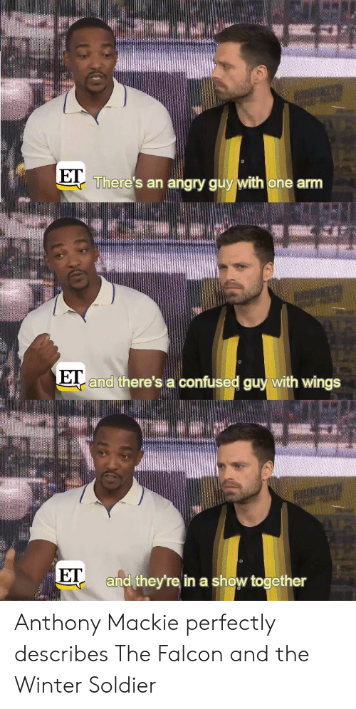 Confused Guy: There's an angry guy with one arm  and there's a confused guy with wings  E  ET  and they're in a show together Anthony Mackie perfectly describes The Falcon and the Winter Soldier