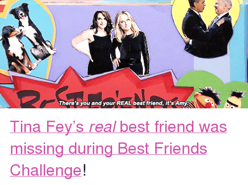 "Best Friend, Friends, and Target: There's you and your REAL best friend, it's Amy <p><a href=""https://www.youtube.com/watch?v=K0eIMA6hSIU&amp;t"" target=""_blank"">Tina Fey's <i>real </i>best friend was missing during Best Friends Challenge</a>!</p>"
