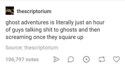 Shit, Square Up, and Ghost: thescriptorium  ghost adventures is literally just an hour  of guys talking shit to ghosts and then  screaming once they square up  Source: thescriptorium  106,797 notes