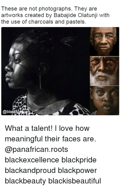 Pastels: These are not photographs. They are  artworks created by Babajide Olatunji with  the use of charcoals and pastels.  @bla What a talent! I love how meaningful their faces are. @panafrican.roots blackexcellence blackpride blackandproud blackpower blackbeauty blackisbeautiful