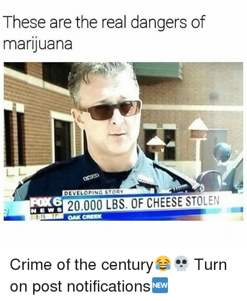 Criming: These are the real dangers of  marijuana  DEVELOPING STORY  20.000 LBS. OF CHEESE STOLEN  :15 77  OAK CREEX Crime of the century😂💀 Turn on post notifications🆕
