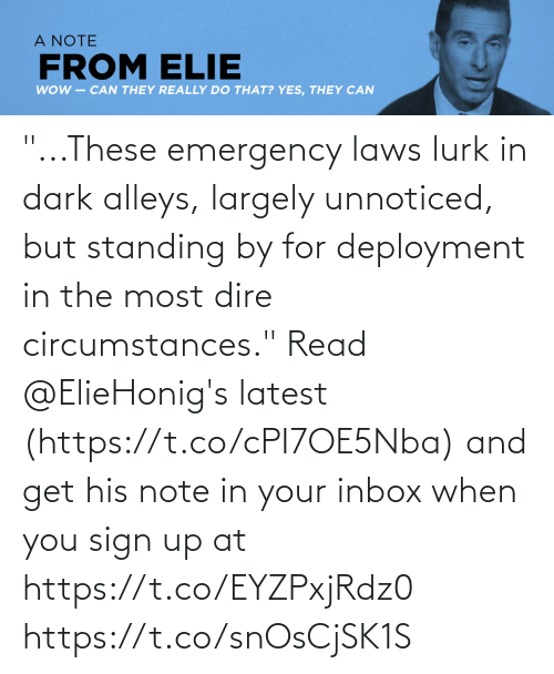 """Inbox: """"...These emergency laws lurk in dark alleys, largely unnoticed, but standing by for deployment in the most dire circumstances.""""  Read @ElieHonig's latest (https://t.co/cPI7OE5Nba) and get his note in your inbox when you sign up at https://t.co/EYZPxjRdz0 https://t.co/snOsCjSK1S"""