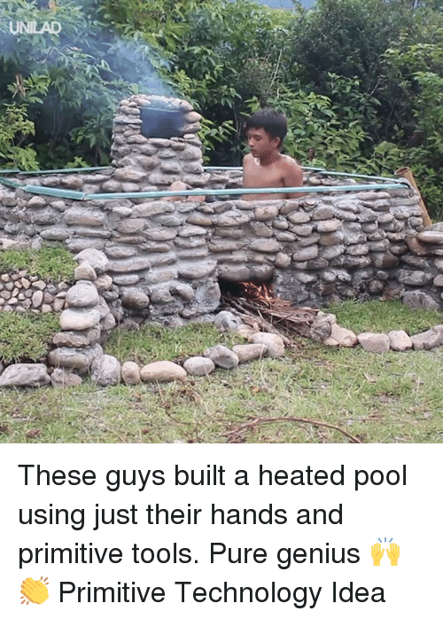 Dank, Genius, and Pool: These guys built a heated pool using just their hands and primitive tools. Pure genius 🙌👏  Primitive Technology Idea
