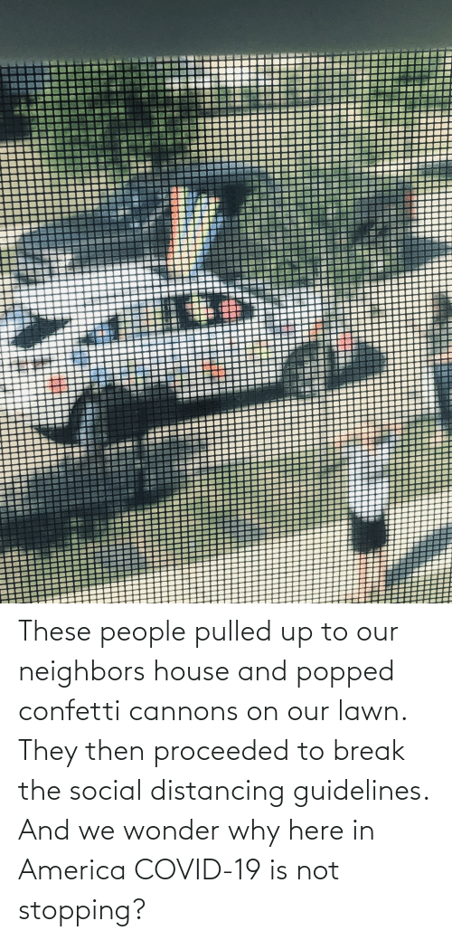 in america: These people pulled up to our neighbors house and popped confetti cannons on our lawn. They then proceeded to break the social distancing guidelines. And we wonder why here in America COVID-19 is not stopping?