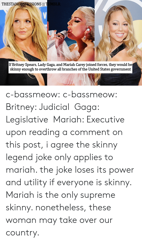 utility: THESTANCONRESSIONS I  If Britney Spears, Lady Gaga, and Mariah Carey joined forces, they would be  skinny enough to overthrow all branches of the United States government c-bassmeow: c-bassmeow:  Britney: Judicial Gaga: Legislative Mariah: Executive  upon reading a comment on this post, i agree the skinny legend joke only applies to mariah. the joke loses its power and utility if everyone is skinny. Mariah is the only supreme skinny. nonetheless, these woman may take over our country.