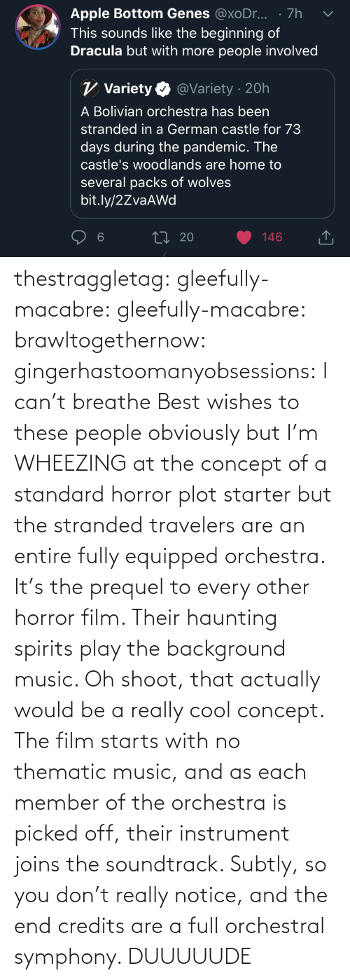 you: thestraggletag:  gleefully-macabre:  gleefully-macabre:   brawltogethernow:  gingerhastoomanyobsessions: I can't breathe Best wishes to these people obviously but I'm WHEEZING at the concept of a standard horror plot starter but the stranded travelers are an entire fully equipped orchestra.    It's the prequel to every other horror film. Their haunting spirits play the background music.     Oh shoot, that actually would be a really cool concept. The film starts with no thematic music, and as each member of the orchestra is picked off, their instrument joins the soundtrack. Subtly, so you don't really notice, and the end credits are a full orchestral symphony.   DUUUUUDE