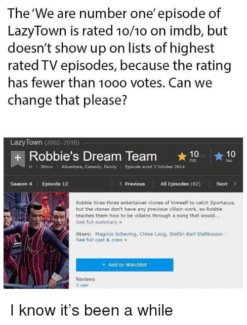Imdb: The'We are number one' episode of  LazyTown is rated 1o/10 on imdb, but  doesn't show up on lists of highest  rated TV episodes, because the rating  has fewer than 10oo votes. Can we  change that please?  Lazy Town (2002-2016)  + Robbie's Dream Team 10  You  U  30min Adventure, Comedy, Family Episode aired 3 October 2014  Season 4  Episode 12  Previous All Episodes (82)  Next>  Robbie hires three entertainer clones of himself to catch Sportacus,  but the clones don't have any previous villain work, so Robbie  teaches them how to be villains through a song that would...  See full summary»  Stars: Magnús Scheving, Chloe Lang, Stefán Karl Stefánsson  See full cast & crew»  + Add to Watchlist  Reviews  3 user I know it's been a while
