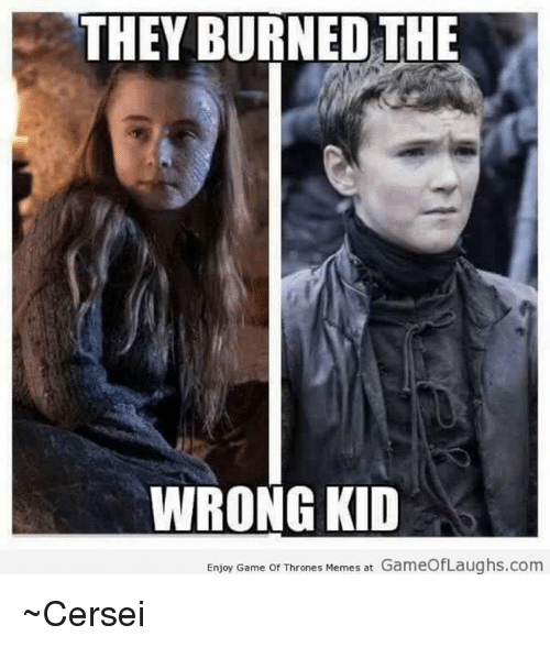 Thrones Meme: THEY BURNED THE  WRONG KID  Enjoy Game of Thrones Memes at GameofLaughs.com ~Cersei