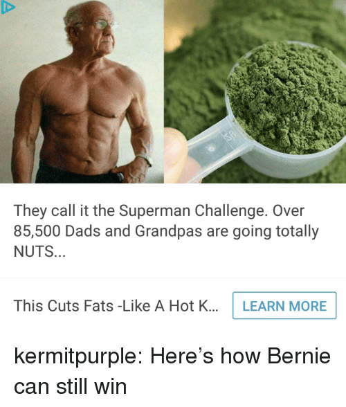 Superman, Tumblr, and Blog: They call it the Superman Challenge. Over  85,500 Dads and Grandpas are going totally  NUTS  This Cuts Fats -Like A Hot K...LEARN MORE kermitpurple: Here's how Bernie can still win