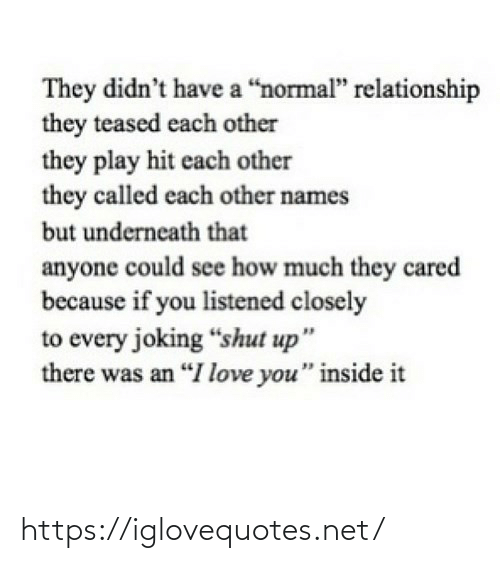 "Didnt: They didn't have a ""normal"" relationship  they teased each other  they play hit each other  they called each other names  but underneath that  anyone could see how much they cared  because if you listened closely  to every joking ""shut up""  there was an ""I love you"" inside it https://iglovequotes.net/"