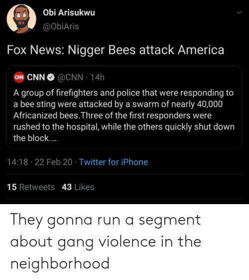 Violence: They gonna run a segment about gang violence in the neighborhood