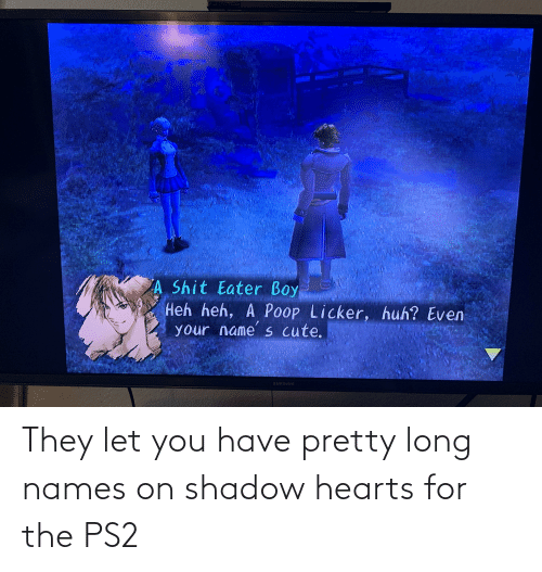 Hearts: They let you have pretty long names on shadow hearts for the PS2