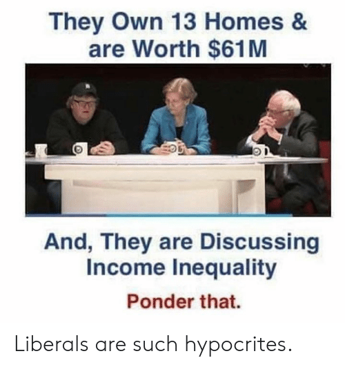 inequality: They Own 13 Homes &  are Worth $61M  And, They are Discussing  Income Inequality  Irs  Ponder that. Liberals are such hypocrites.