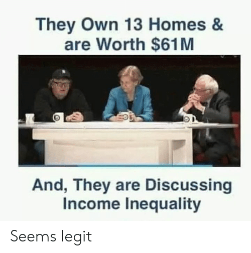 Memes, 🤖, and Legit: They Own 13 Homes &  are Worth $61M  O D  And, They are Discussing  Income Inequality Seems legit