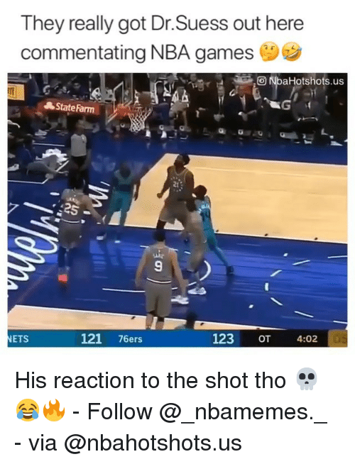 Nba Games: They really got Dr.Suess out here  commentating NBA games  O NbaHotshots.us  State Farm  2t  9  ETS  121 76ers  123  OT  4:02 His reaction to the shot tho 💀😂🔥 - Follow @_nbamemes._ - via @nbahotshots.us
