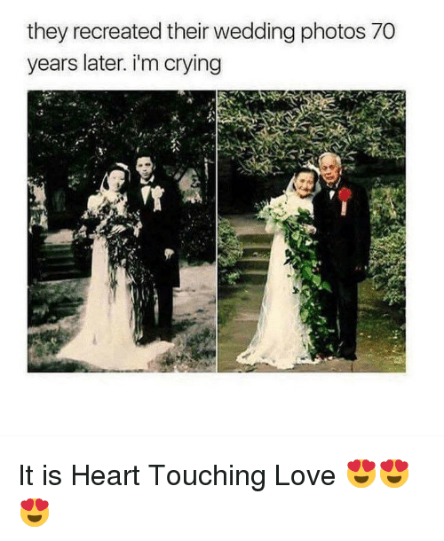 Crying, Love, and Heart: they recreated their wedding photos 70  years later. i'm crying It is Heart Touching Love 😍😍 😍
