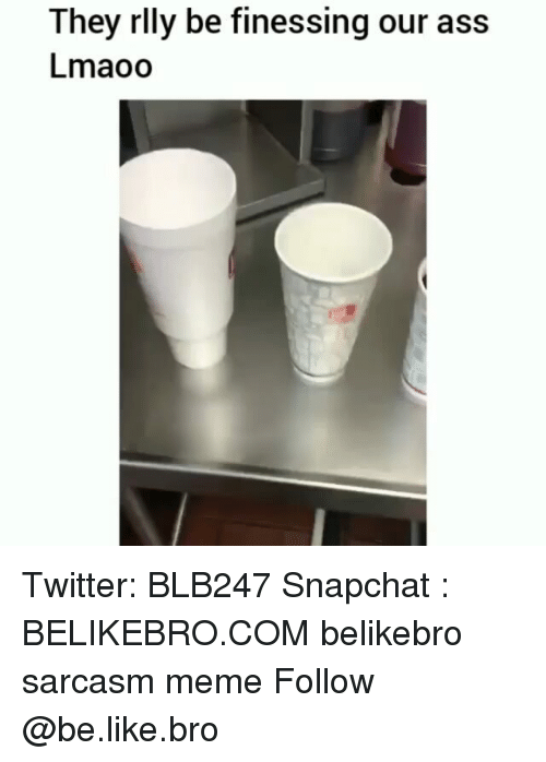 Ass, Be Like, and Meme: They rlly be finessing our ass  Lmaoo Twitter: BLB247 Snapchat : BELIKEBRO.COM belikebro sarcasm meme Follow @be.like.bro