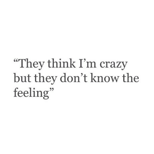 "Crazy, Think, and They: ""They think I'm crazy  but they don't know the  feeling  95"