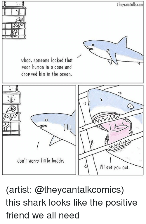 Memes, Shark, and Ocean: theycantalk.com  whod, someone locked that  poor human in a cage and  dropped him in the ocean.  don't worry little buddy,  l set you out (artist: @theycantalkcomics) this shark looks like the positive friend we all need