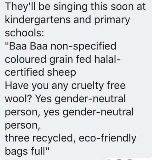 """Memes, Singing, and Soon...: They'll be singing this soon at  kindergartens and primary  schools:  """"Baa Baa non-specified  coloured grain fed halal-  certified sheep  Have you any cruelty free  wool? Yes gender-neutral  person, yes gender-neutral  person,  three recycled, eco-friendly  bags full"""""""