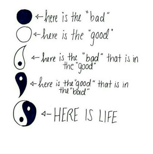 """Bad, Life, and Good: thi """"bad  ←here is  -hire is the qood  4-ere is tht """"bad"""" that is in  the """"Qpod  4-here is tha good"""" that is in  the boud  HERE IS LIFE"""