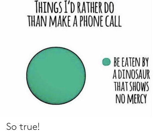 no mercy: THINGS I'D RATHER DO  THAN MAKE A PHONE CALL  BE EATEN BY  ADINOSAUR  THAT SHOWS  NO MERCY So true!