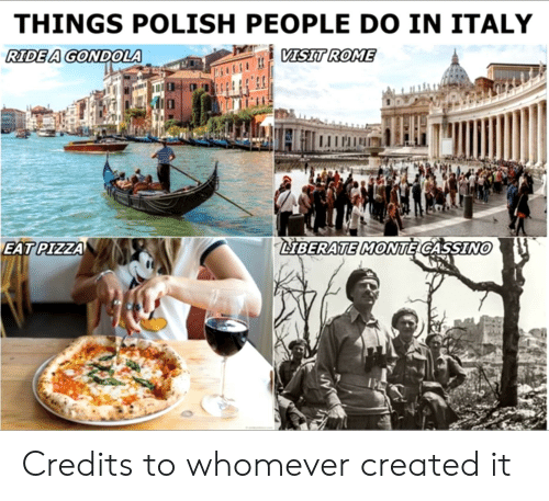 Polish People: THINGS POLISH PEOPLE DO IN ITALY  VISIT ROME  RIDE A GONDOLA  LIBERATE MONTE CASSINO  EAT PIZZA Credits to whomever created it