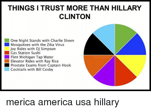 America, Charlie, and Charlie Sheen: THINGSI TRUST MORE THAN HILLARY  CLINTON  One Night Stands with Charlie Sheen  Mosquitoes with the Zika Virus  Joy Rides with OJ Simpson  ■ Gas Station Sushi  Flint Michigan Tap Water  Elevator Rides with Ray Rice  ■ Prostate Exams from Captain Hook  Cocktails with Bil Cosby merica america usa hillary