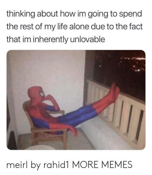 Being Alone, Dank, and Life: thinking about how im going to spend  the rest of my life alone due to the fact  that im inherently unlovable meirl by rahid1 MORE MEMES