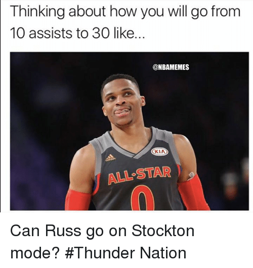 All Star, Nba, and Star: Thinking about how you will go from  10 assists to 30 like...  @NBAMEMES  KIA  ALL STAR Can Russ go on Stockton mode? #Thunder Nation