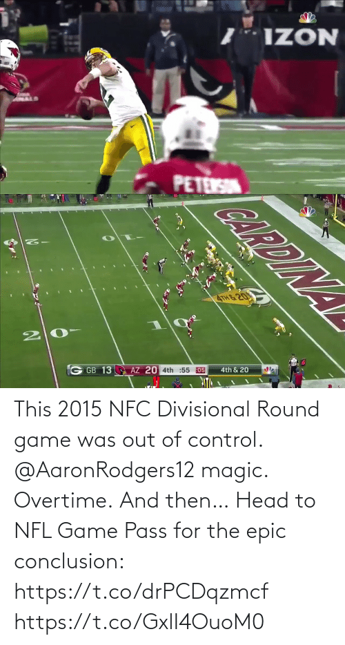 conclusion: This 2015 NFC Divisional Round game was out of control.  @AaronRodgers12 magic. Overtime. And then…   Head to NFL Game Pass for the epic conclusion: https://t.co/drPCDqzmcf https://t.co/GxlI4OuoM0