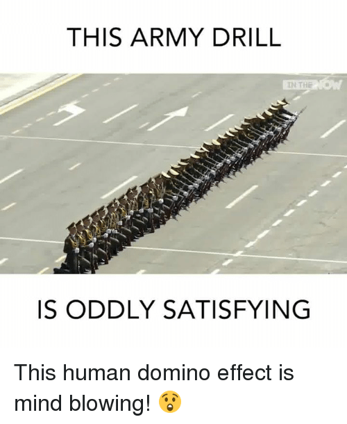 Dominoes: THIS ARMY DRILL  IN THE  IS ODDLY SATISFYING This human domino effect is mind blowing! 😲