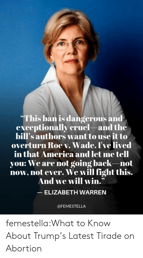 "Elizabeth Warren: ""This ban is dangerous and  exceptionally cruel and the  bill's authors want to use it to  overturn Roe v. Wade. I've lived  merica and let me tell  in that America an  you: We are not going back-not  now, not ever. We will fight this.  And we will win.""  ELIZABETH WARREN  @FEMESTELLA femestella:What to Know About Trump's Latest Tirade on Abortion"