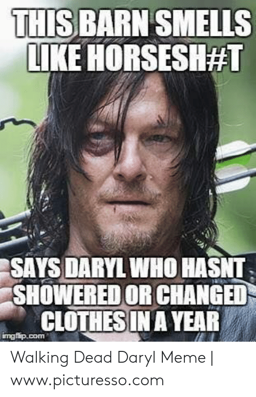 Daryl Dixon Memes: THIS BARN SMELLS  LIKE HORSESH#1  SAYS DARYL WHO HASNT  SHOWERED OR CHANGED  CLOTHES IN A YEAR Walking Dead Daryl Meme | www.picturesso.com