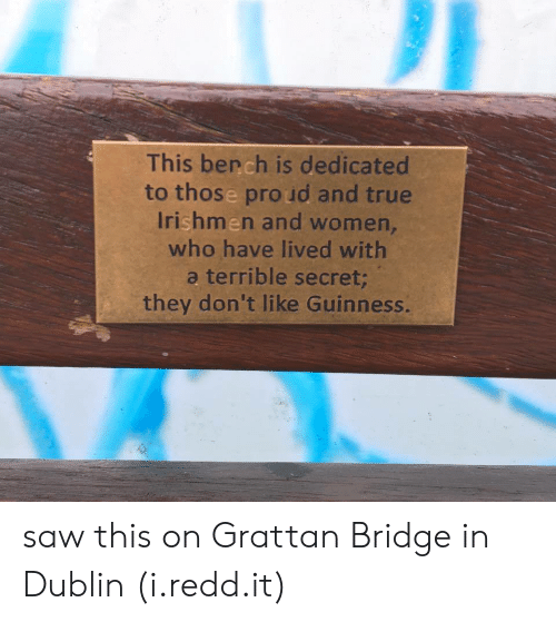 dublin: This bench is dedicated  to those pro ud and true  Irishmen and women,  who have lived with  a terrible secret  they don't like Guinness. saw this on Grattan Bridge in Dublin (i.redd.it)