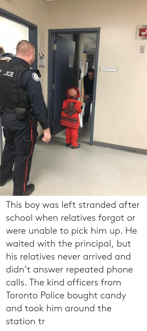 Repeated: This boy was left stranded after school when relatives forgot or were unable to pick him up. He waited with the principal, but his relatives never arrived and didn't answer repeated phone calls. The kind officers from Toronto Police bought candy and took him around the station tr