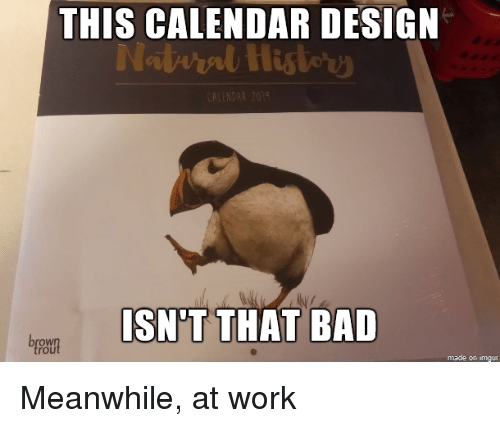 Bad, Work, and Calendar: THIS CALENDAR DESIGN  SN'T THAT BAD  rou  made on imgur Meanwhile, at work