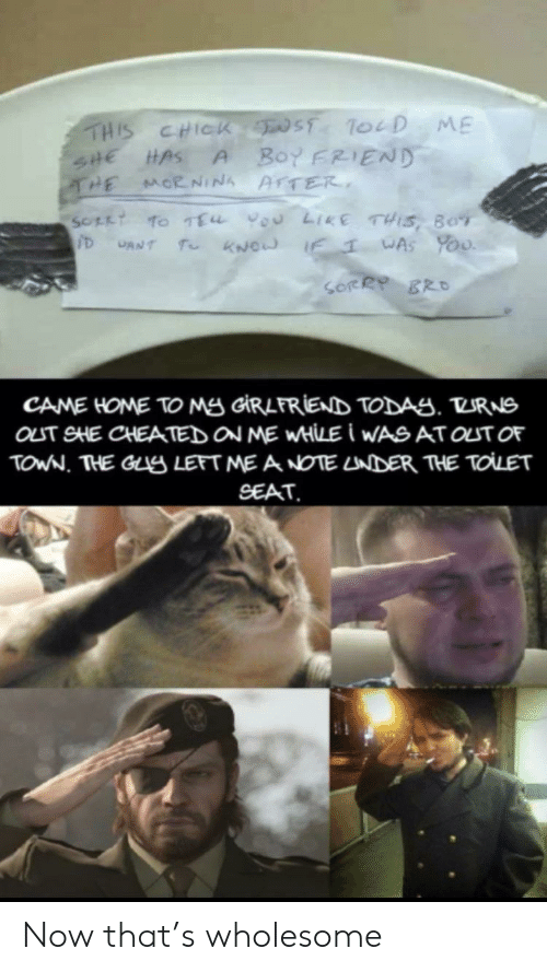 Sorry, Home, and Girlfriend: THIS CHICK ST ToeD ME  Boy FRIEND  SHE HAS  THE  A  MORNINA AFTER  SOFLT TO TEu vou LIKE THIS, BOT  T KNOW IF  WAS YoU  CANT  SORRY BRO  CAME HOME TO Mg GIRLFRIEND TODAS. TURNS  OLT SHE CHEATED ON ME WHILE I WASAT OUT OF  TOWN. THE GLS LEFT ME A NOTE LNDER THE TOLET  SEAT Now that's wholesome