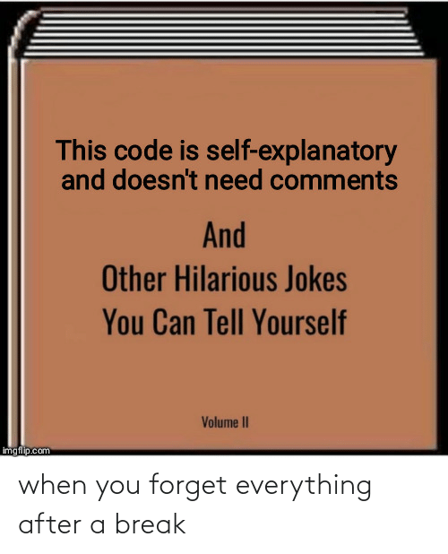 Jokes: This code is self-explanatory  and doesn't need comments  And  Other Hilarious Jokes  You Can Tell Yourself  Volume II  imgflip.com when you forget everything after a break