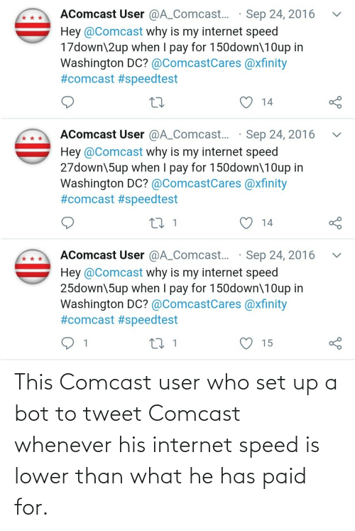 Internet: This Comcast user who set up a bot to tweet Comcast whenever his internet speed is lower than what he has paid for.