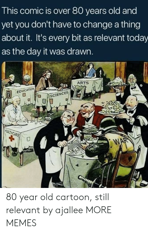 Old Cartoon: This comic is over 80 years old and  yet you don't have to change a thing  about it. It's every bit as relevant today  as the day it was drawn.  ARTS AL  EDUCATION 80 year old cartoon, still relevant by ajallee MORE MEMES