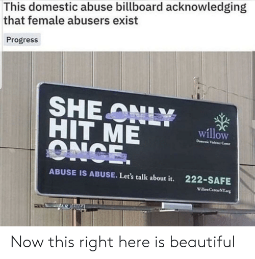 Beautiful, Billboard, and Once: This domestic abuse billboard acknowledging  that female abusers exist  Progress  SHE ONLY  HIT ME  ONCE.  willow  D Vele Ce  ABUSE IS ABUSE. Let's talk about it.  222-SAFE  Willew CenterNY  AR SO064 Now this right here is beautiful