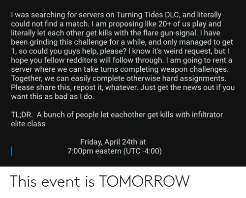event: This event is TOMORROW