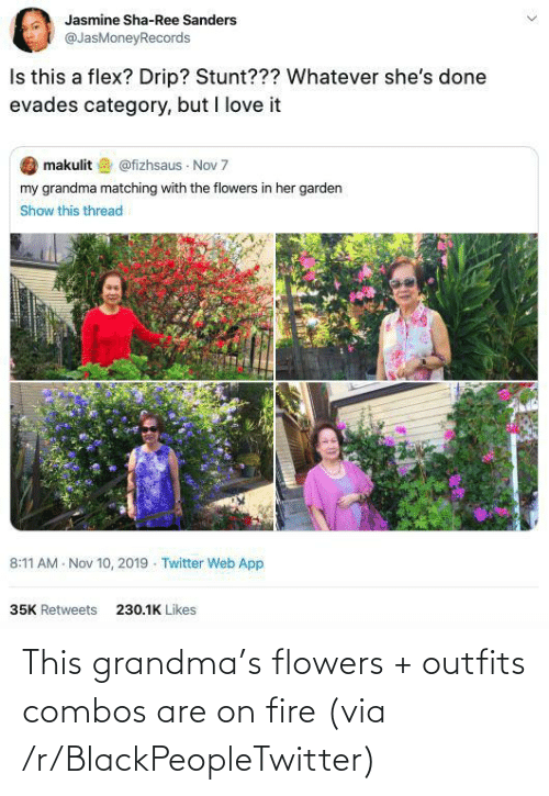 Combos: This grandma's flowers + outfits combos are on fire (via /r/BlackPeopleTwitter)