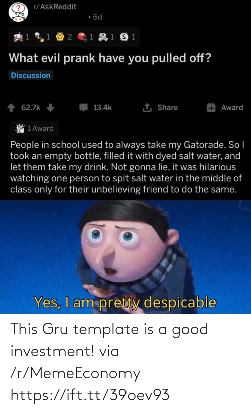 Gru: This Gru template is a good investment! via /r/MemeEconomy https://ift.tt/39oev93