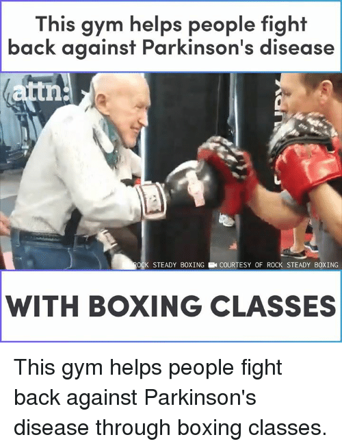 Boxing, Gym, and Memes: This gym helps people fight  back  against Parkinson's disease  tn  OCK STEADY BOXINGCOURTESY OF ROCK STEADY BOXING  WITH BOXING CLASSES This gym helps people fight back against Parkinson's disease through boxing classes.