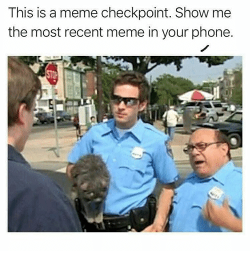 Meme, Phone, and Checkpoint: This is a meme checkpoint. Show me  the most recent meme in your phone.